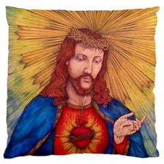Sacred Heart Of Jesus Christ Drawing Large Flano Cushion Cases (one Side)  by KentChua