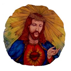 Sacred Heart Of Jesus Christ Drawing Large 18  Premium Flano Round Cushions