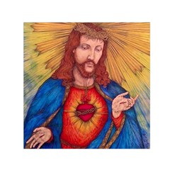 Sacred Heart Of Jesus Christ Drawing Small Satin Scarf (square)  by KentChua