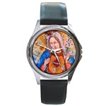 Immaculate Heart Of Virgin Mary Drawing Round Metal Watches Front