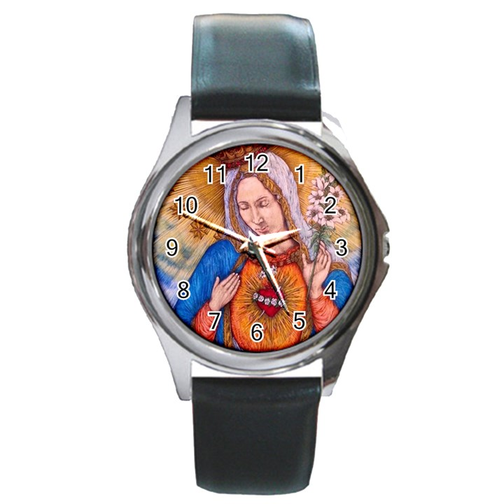 Immaculate Heart Of Virgin Mary Drawing Round Metal Watches