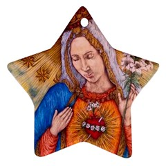Immaculate Heart Of Virgin Mary Drawing Ornament (star)  by KentChua