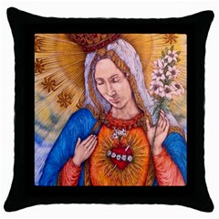 Immaculate Heart Of Virgin Mary Drawing Throw Pillow Cases (black) by KentChua