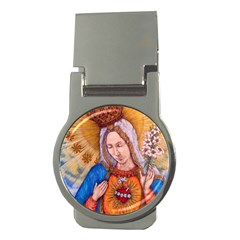 Immaculate Heart Of Virgin Mary Drawing Money Clips (round)  by KentChua
