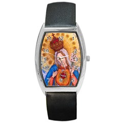 Immaculate Heart Of Virgin Mary Drawing Barrel Metal Watches by KentChua