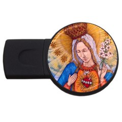 Immaculate Heart Of Virgin Mary Drawing Usb Flash Drive Round (4 Gb)  by KentChua