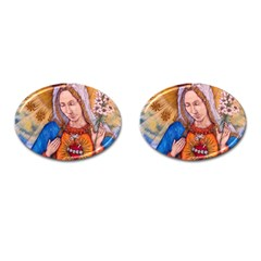 Immaculate Heart Of Virgin Mary Drawing Cufflinks (oval) by KentChua