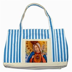 Immaculate Heart Of Virgin Mary Drawing Striped Blue Tote Bag  by KentChua