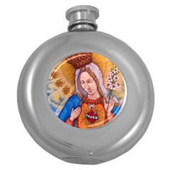 Immaculate Heart Of Virgin Mary Drawing Round Hip Flask (5 Oz) by KentChua