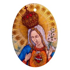 Immaculate Heart Of Virgin Mary Drawing Oval Ornament (two Sides) by KentChua