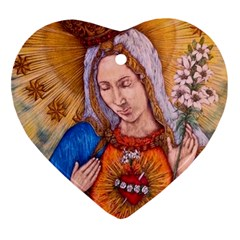 Immaculate Heart Of Virgin Mary Drawing Heart Ornament (2 Sides) by KentChua