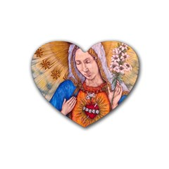 Immaculate Heart Of Virgin Mary Drawing Rubber Coaster (heart)  by KentChua