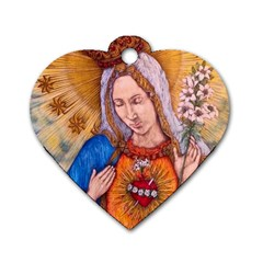 Immaculate Heart Of Virgin Mary Drawing Dog Tag Heart (one Side) by KentChua
