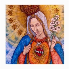 Immaculate Heart Of Virgin Mary Drawing Medium Glasses Cloth (2 Side) by KentChua