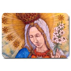 Immaculate Heart Of Virgin Mary Drawing Large Doormat  by KentChua