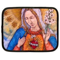 Immaculate Heart Of Virgin Mary Drawing Netbook Case (large) by KentChua