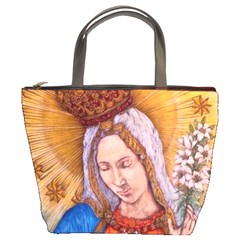 Immaculate Heart Of Virgin Mary Drawing Bucket Bags by KentChua