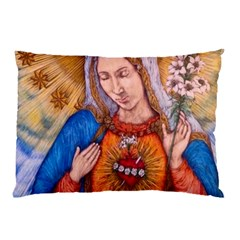 Immaculate Heart Of Virgin Mary Drawing Pillow Cases by KentChua