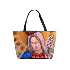 Immaculate Heart Of Virgin Mary Drawing Shoulder Handbags by KentChua