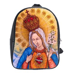 Immaculate Heart Of Virgin Mary Drawing School Bags(large)  by KentChua