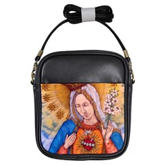 Immaculate Heart Of Virgin Mary Drawing Girls Sling Bags by KentChua