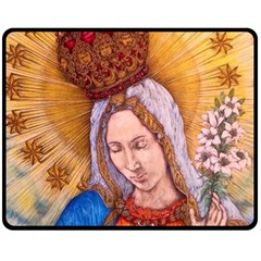 Immaculate Heart Of Virgin Mary Drawing Fleece Blanket (medium)  by KentChua