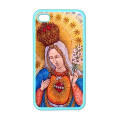 Immaculate Heart Of Virgin Mary Drawing Apple Iphone 4 Case (color) by KentChua
