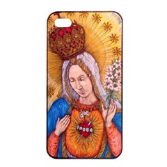 Immaculate Heart Of Virgin Mary Drawing Apple Iphone 4/4s Seamless Case (black) by KentChua
