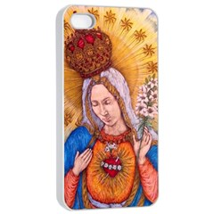 Immaculate Heart Of Virgin Mary Drawing Apple Iphone 4/4s Seamless Case (white) by KentChua