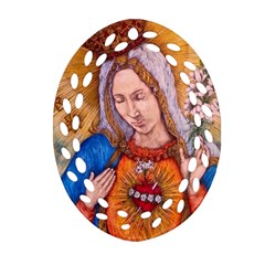 Immaculate Heart Of Virgin Mary Drawing Ornament (oval Filigree)  by KentChua
