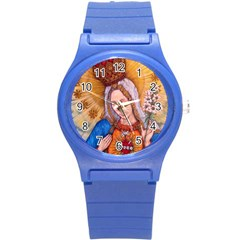 Immaculate Heart Of Virgin Mary Drawing Round Plastic Sport Watch (s) by KentChua