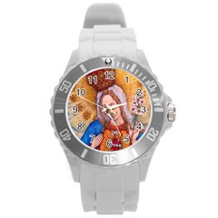 Immaculate Heart Of Virgin Mary Drawing Round Plastic Sport Watch (l) by KentChua