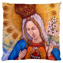 Immaculate Heart Of Virgin Mary Drawing Large Cushion Cases (two Sides)  by KentChua