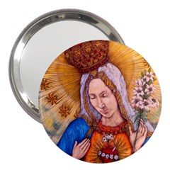 Immaculate Heart Of Virgin Mary Drawing 3  Handbag Mirrors by KentChua