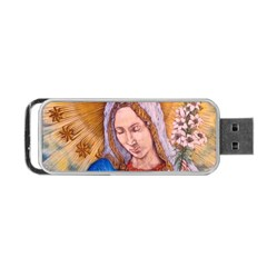 Immaculate Heart Of Virgin Mary Drawing Portable Usb Flash (one Side) by KentChua
