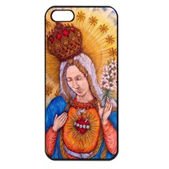 Immaculate Heart Of Virgin Mary Drawing Apple Iphone 5 Seamless Case (black) by KentChua