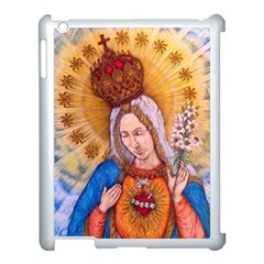 Immaculate Heart Of Virgin Mary Drawing Apple Ipad 3/4 Case (white) by KentChua
