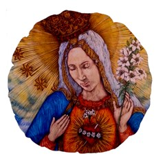 Immaculate Heart Of Virgin Mary Drawing Large 18  Premium Round Cushions by KentChua