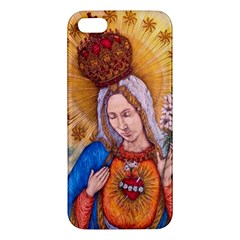 Immaculate Heart Of Virgin Mary Drawing Apple Iphone 5 Premium Hardshell Case by KentChua