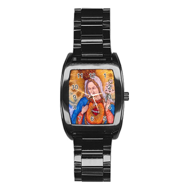Immaculate Heart Of Virgin Mary Drawing Stainless Steel Barrel Watch