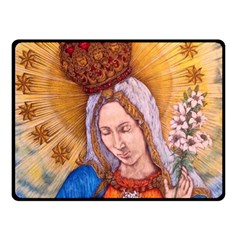 Immaculate Heart Of Virgin Mary Drawing Double Sided Fleece Blanket (small)  by KentChua