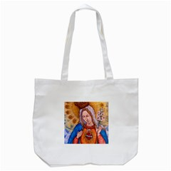 Immaculate Heart Of Virgin Mary Drawing Tote Bag (white)  by KentChua