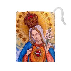 Immaculate Heart Of Virgin Mary Drawing Drawstring Pouches (large)  by KentChua
