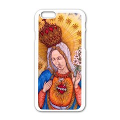 Immaculate Heart Of Virgin Mary Drawing Apple Iphone 6/6s White Enamel Case by KentChua