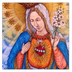 Immaculate Heart Of Virgin Mary Drawing Large Satin Scarf (square) by KentChua