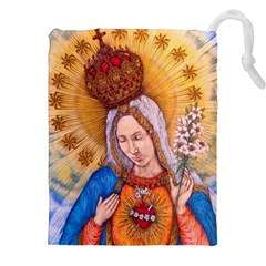 Immaculate Heart Of Virgin Mary Drawing Drawstring Pouches (xxl) by KentChua