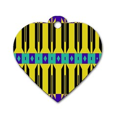 Rhombus And Other Shapes Pattern 			dog Tag Heart (one Side) by LalyLauraFLM
