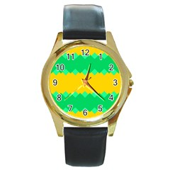 Green Rhombus Chains 			round Gold Metal Watch by LalyLauraFLM