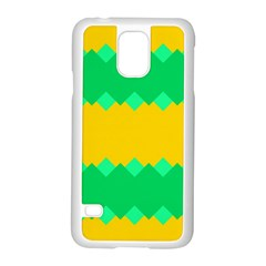 Green Rhombus Chains 			samsung Galaxy S5 Case (white) by LalyLauraFLM
