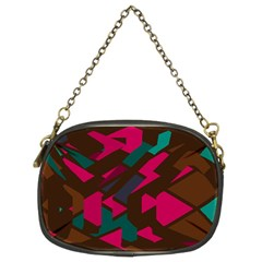 Brown Pink Blue Shapes 	chain Purse (two Sides) by LalyLauraFLM